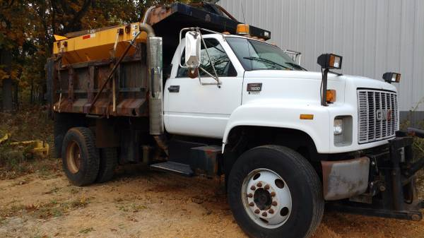 GMC 7500 Dump Truck with Salt Spreader & Plow Mount for Sale