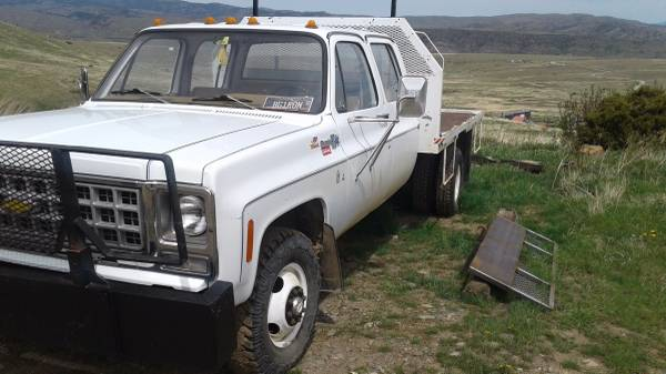 1980 4x4 Chevy K30 Crew Cab Dually Flatbed Truck For Sale